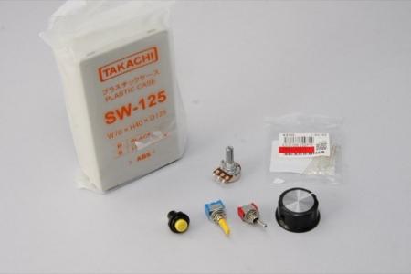 コントローラ側で利用する部品の様子。プラスチックケースはタカチのSW-125(W70×H40×D125mm)を利用