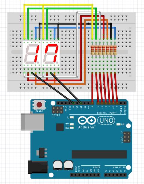 図2 第8回より7セグLEDの表示回路