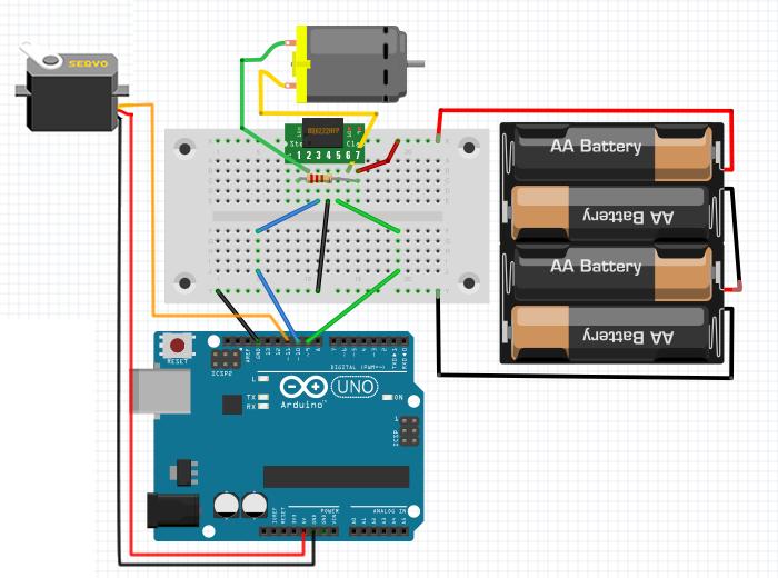 サーボモーターとDCモーター用Arduino回路