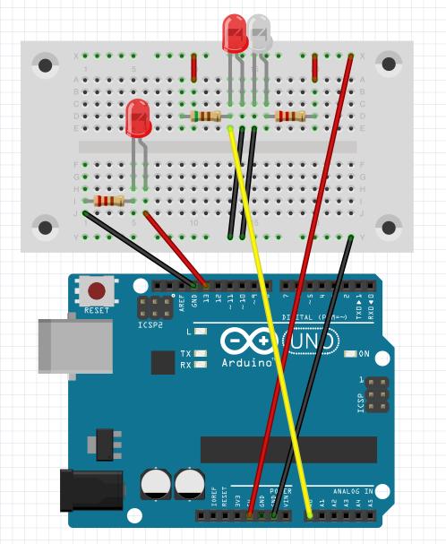 図3 フォトリフレクタに反応してLEDを光らせる回路