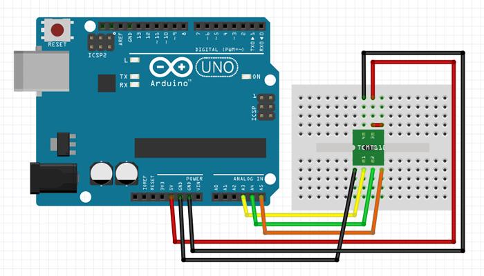 図2 Arduinoに加速度センサを接続する回路