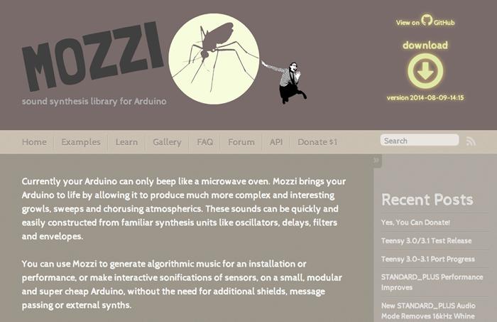 写真1 Mozziのウェブサイト