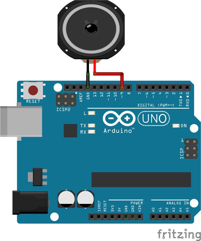 図1 Arduinoとスピーカーをつなぐ回路