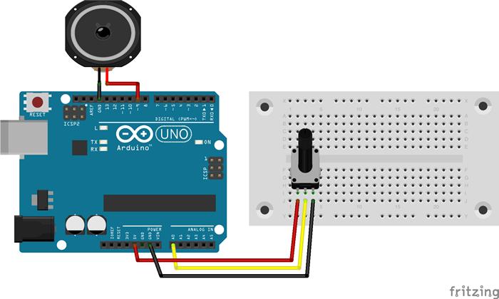 図4 Arduinoとボリューム可変抵抗回路