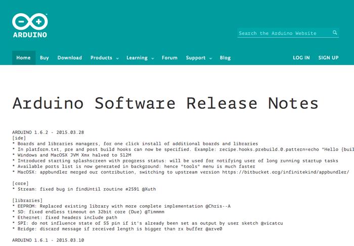 図3 Arduino Software Release Notes