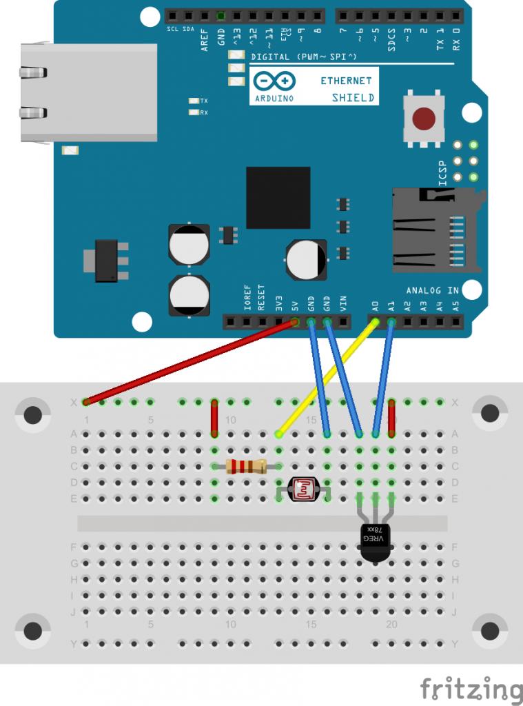 図3 温度センサと光センサの回路