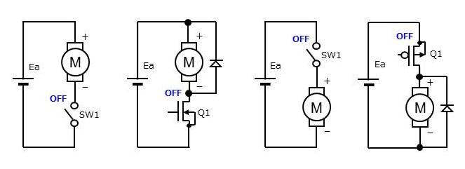Fig-2 ブラシ付きDCモータ スイッチ回路例