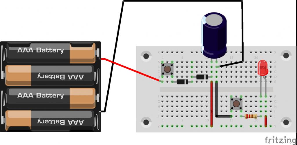 図3.電気二重層コンデンサの充電とLED点灯回路