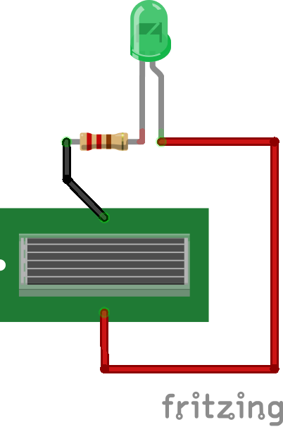 図1.ソーラーパネルとLED回路