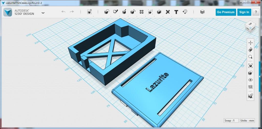 写真14.Lazurite Basicケースのモデリング画面