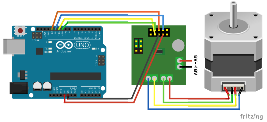 図1 ArduinoとL6470のステッピングモーター回路