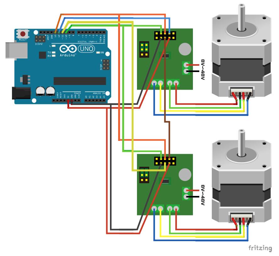 図3 2つのステッピングモーター回路