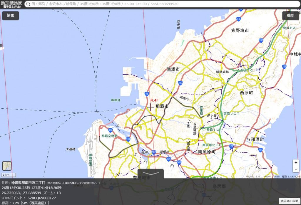 図8 那覇市の磁北線