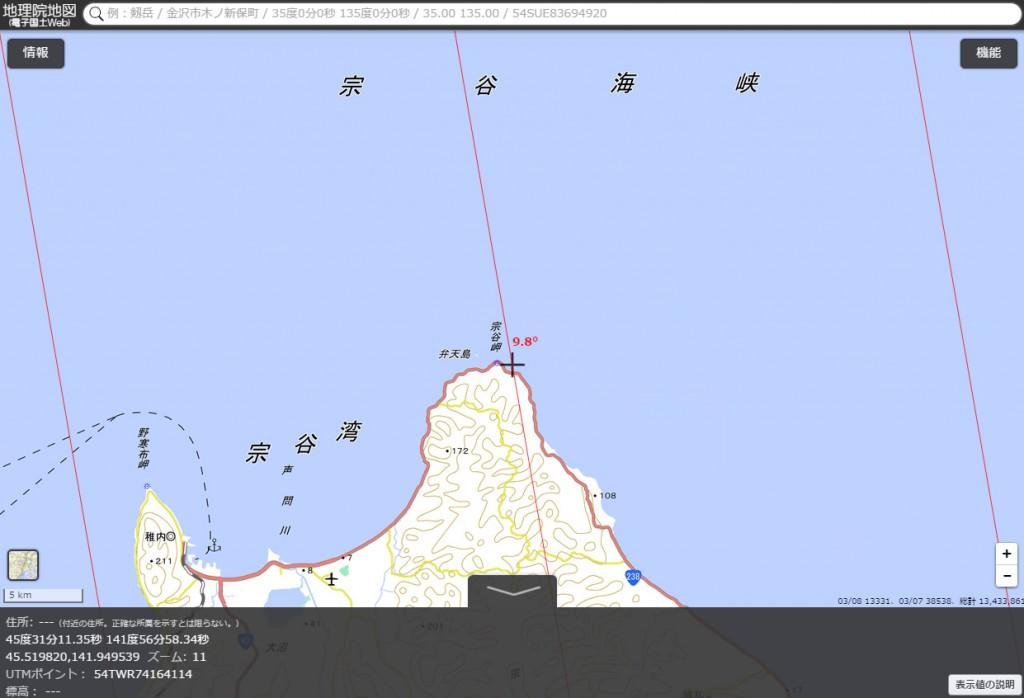 図7 宗谷岬の磁北線
