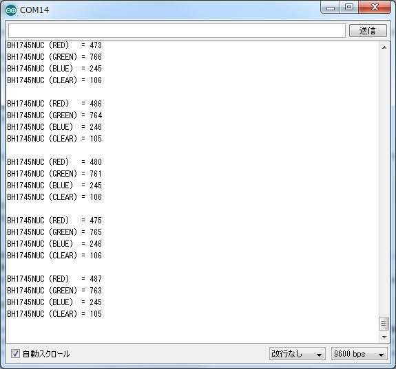 写真5 カラーセンサのサンプルプログラム動作結果