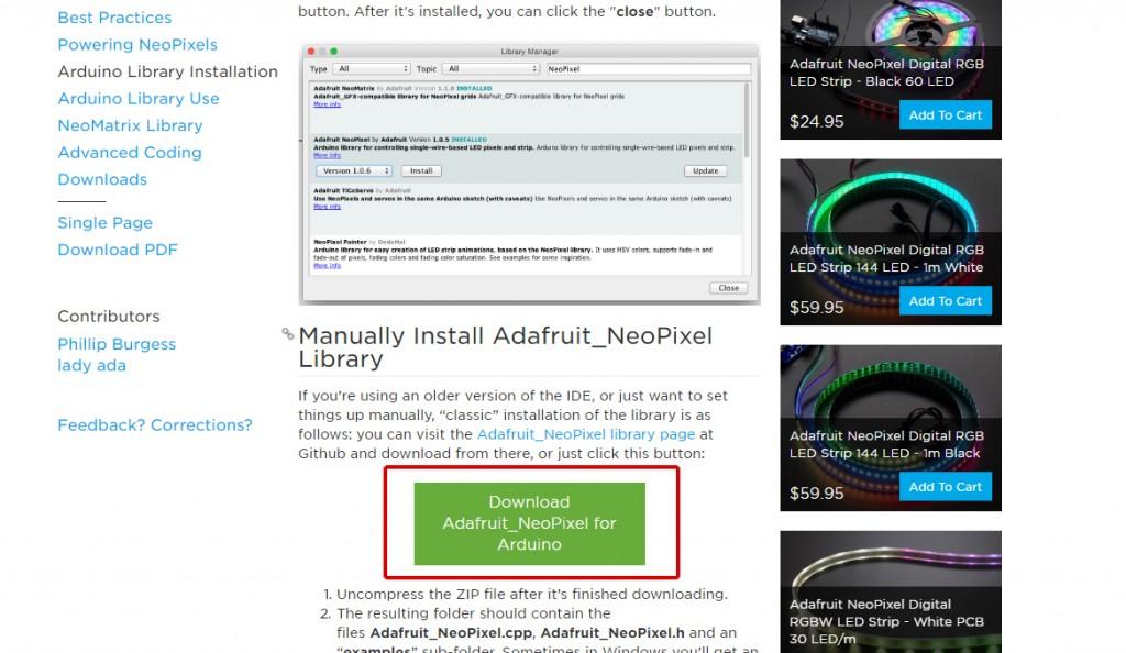 図1 Adafruitのページからライブラリをダウンロード