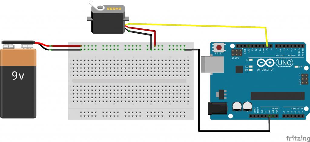 図3 Arduinoとサーボモーターの回路