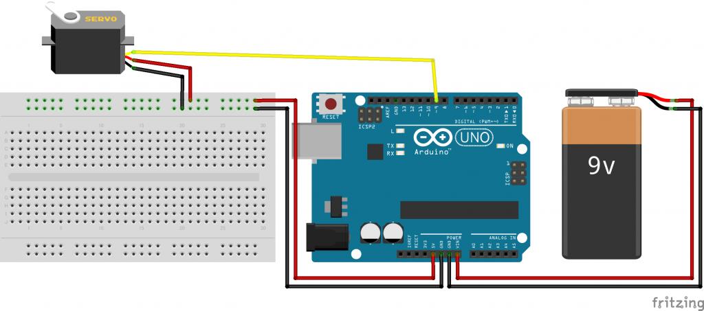 図4 Arduinoとサーボモーターの電源を一緒に供給