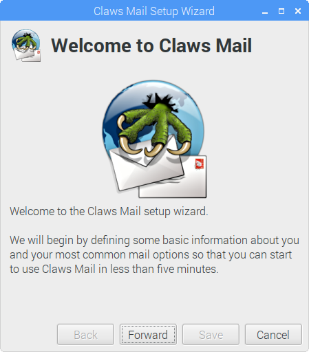 Claws Mailのセットアップウィザード画面
