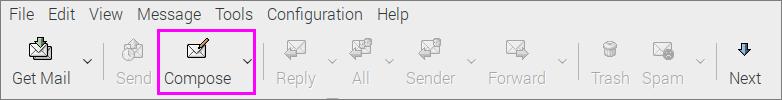 Claws Mailで「Compose」ボタンをクリック