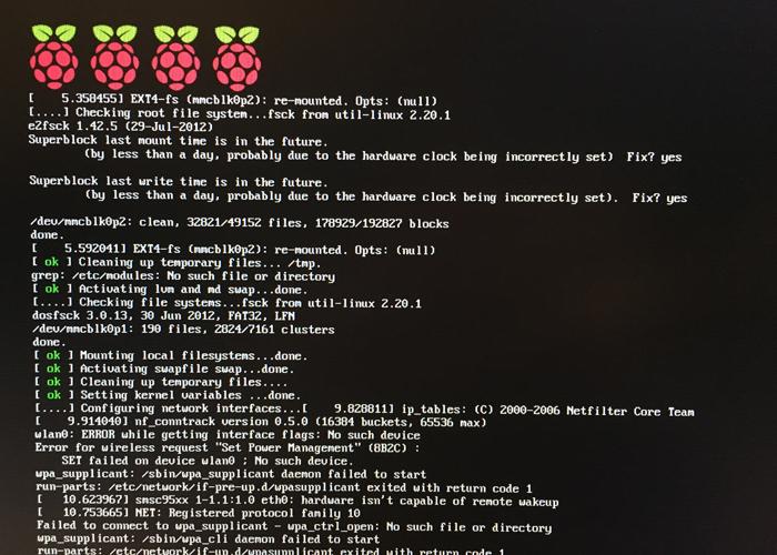 Raspbianの起動画面
