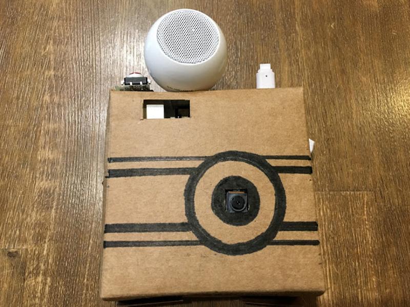 スピーカーをセットして、AIカメラの完成