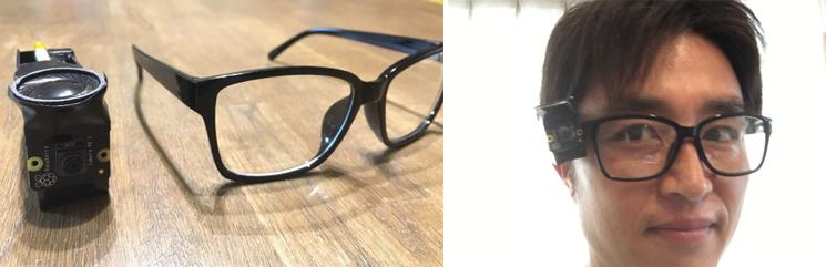 今回はメガネの横に付けて、カメラの方向を固定