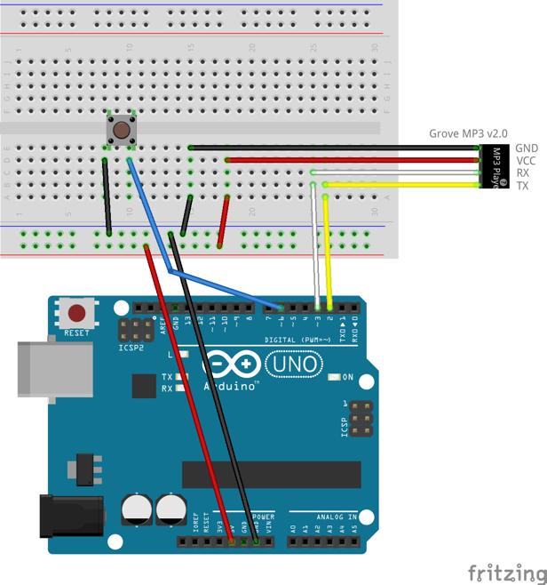 MP3モジュール制御回路の配線図