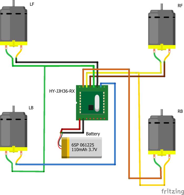 基盤とモーターの配線