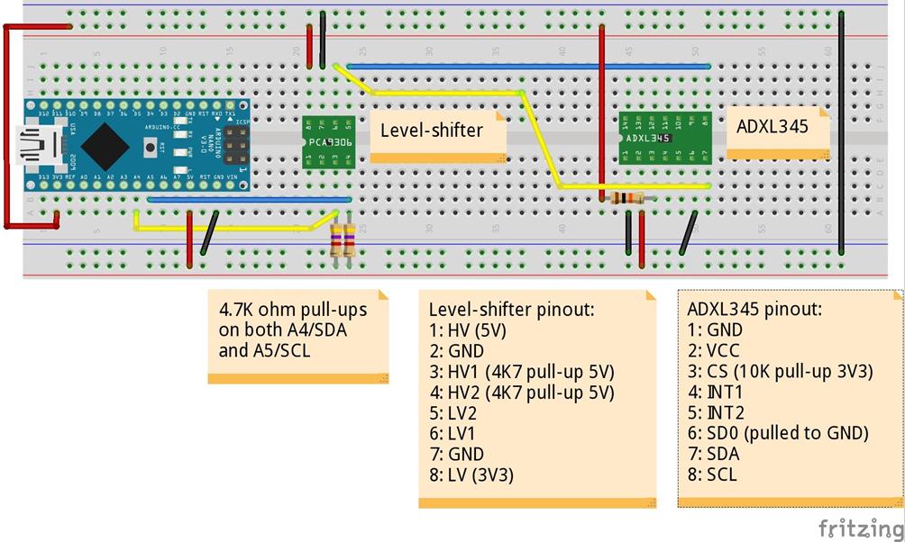 ADXL345加速度計の接続・配線
