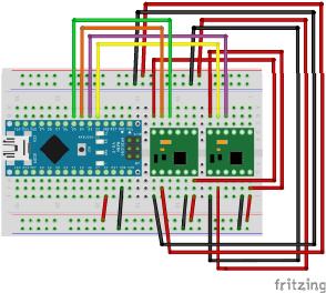 図3 Arduino Nanoとモータドライバの接続
