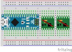 図4 PWM(MODE)ピンの接続(赤い線は実際にはモータドライバの裏側に配線)