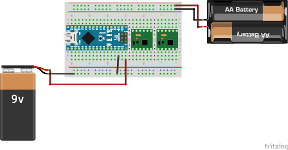 図5 電池ボックスとブレッドボードとの接続
