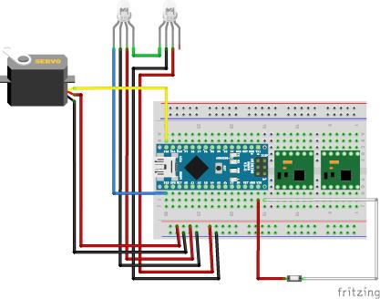 図7 サーボモータ(SG90)/WS2812B/スイッチの配線