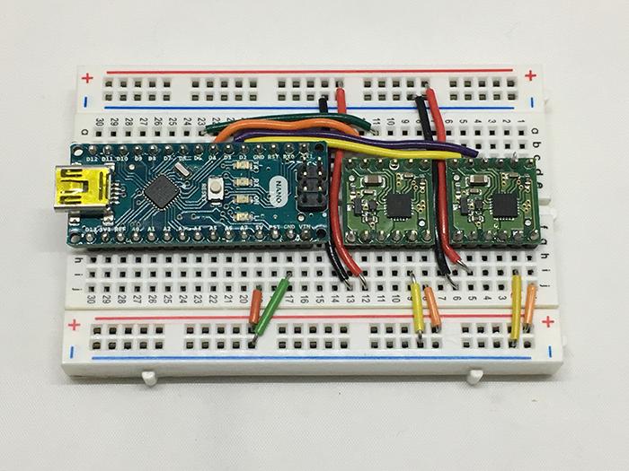 写真1 Arduino Nanoとモータドライバを接続したところ