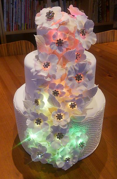 電子部品を使った作品の例。LEDを使って光るクレイアート(金谷 早苗氏作)